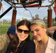 Alexandra Daddario and Kate Upton on set for The Layover. St Louis drone filming with tethered balloon and the Arch.