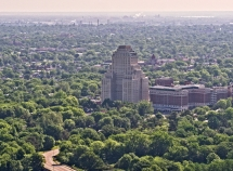 st louis drone photograph of Chase Park Plaza